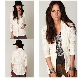 Free People Ivory Lace Single Button Blazer Jacket